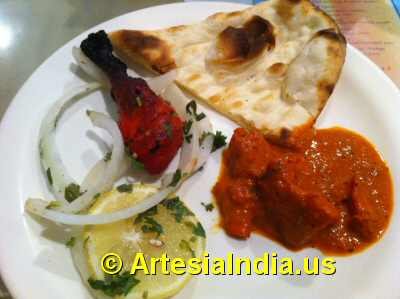 Indian Buffet Chicken  & Naan image © ArtesiaIndia.us
